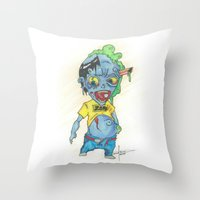 magic the gathering Throw Pillows featuring Zombie Token - Magic the Gathering by Deadlance