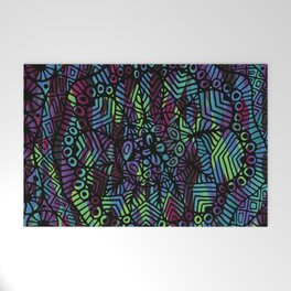 Purple and Green Doodle 14 Welcome Mat