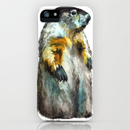 Watercolor Woodchuck (Groundhog) iPhone Case
