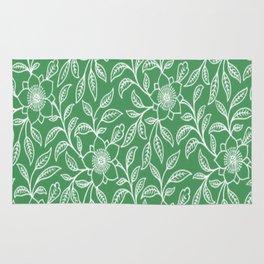 Vintage Lace Floral Green Rug