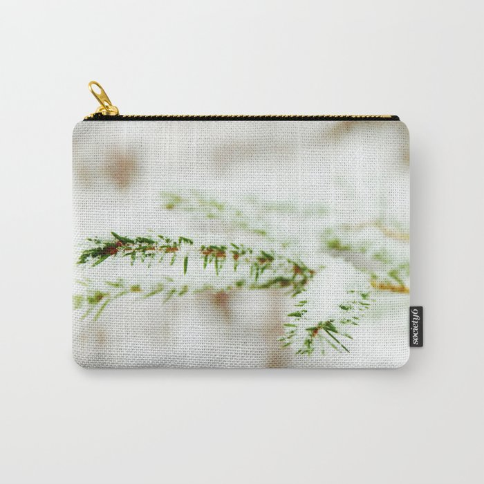 Spruce branch with snow veil Carry-All Pouch