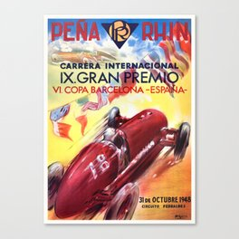 1948 Spain Grand Prix Racing Poster Canvas Print