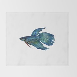 Mortimer the Betta Fish Throw Blanket