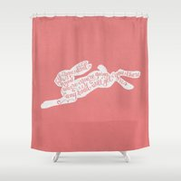 alice in wonderland Shower Curtains featuring Alice in wonderland - pink by Drivis
