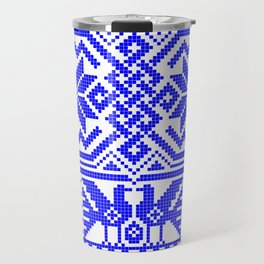 Cross-stitch - Blue Travel Mug
