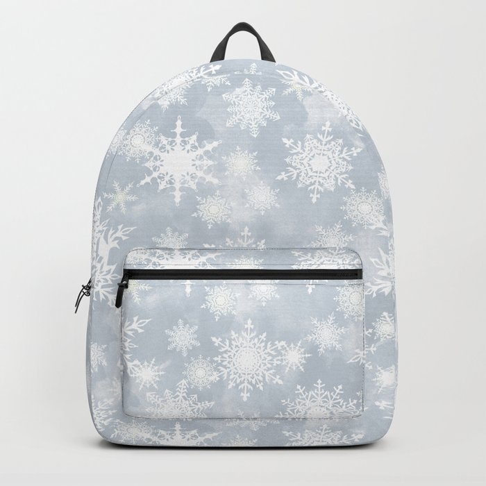 Snowflakes . White Lacy snowflakes on a light grey Backpack