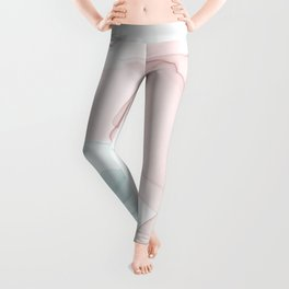 Blush and Blue Flowing Abstract Painting Leggings