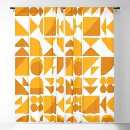 Mid Century Shape Art in Mustard Yellow Blackout Curtain