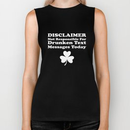 Disclaimer Not Responsible Shamrock St Patrick's Day Biker Tank