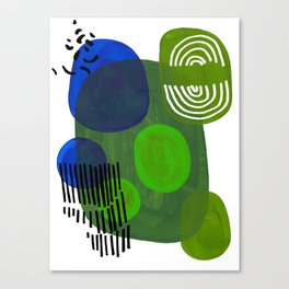 Modern Mid Century Fun Colorful Abstract Minimalist Painting Shapes & Patterns Swamp Monster Greens Canvas Print