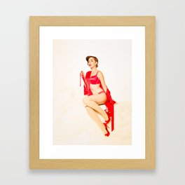 """""""Red Satin"""" - The Playful Pinup - Red Lingerie Pin-up Girl by Maxwell H. Johnson Framed Art Print"""