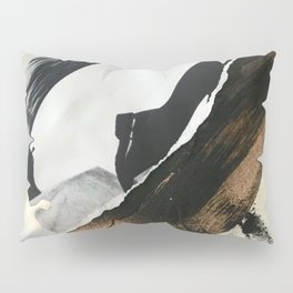 Stay | Collage Series 2 | mixed-media piece in gold, black and white + book pages Pillow Sham