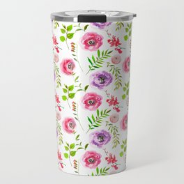 Elegant pink purple green modern leaves floral Travel Mug