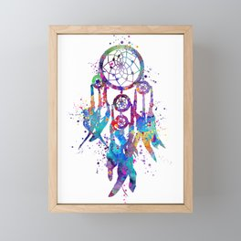 Dreamcatcher Art Colorful Watercolor Artwork Framed Mini Art Print