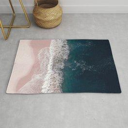 Pink Beach Print - Aerial Beach Print - Ocean Sea photography by Ingrid Beddoes Rug