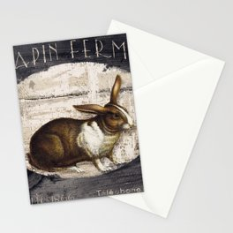 Vintage French Farm Sign Rabbit Stationery Cards