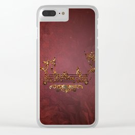 Music, clef with key notes on red background Clear iPhone Case