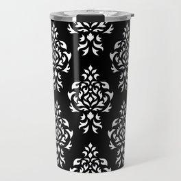 Crest Damask Repeat Pattern White on Black Travel Mug