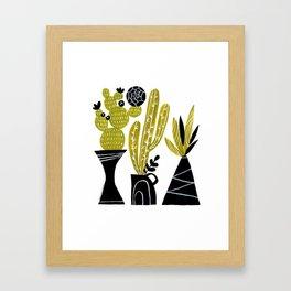 GREEN AND BLACK CACTUS Framed Art Print