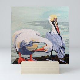 Preening Pelicans Mini Art Print