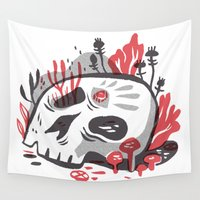 illuminati Wall Tapestries featuring Skill and Mushroom by pam wishbow