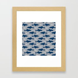 Sharks and chevrons minimal basic nursery baby home decor pattern nautical ocean Framed Art Print