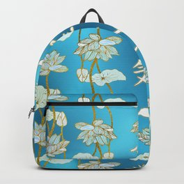 Reiki Healing hands Symbol with lotus on blue Backpack