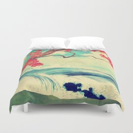 Waking to the Wild and Beautiful Ocean of Dhin Duvet Cover