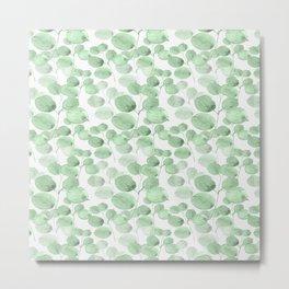 Modern neo mint forest green watercolor foliage greenery Metal Print