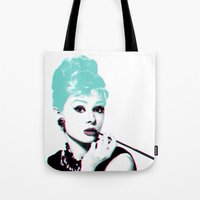 audrey hepburn Tote Bags featuring AUDREY HEPBURN by Nuk_