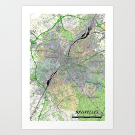 map of bruxelles in colour Art Print