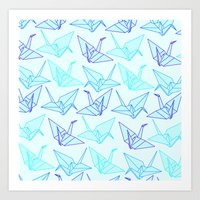 origami Art Prints featuring Origami by StudioBlueRoom