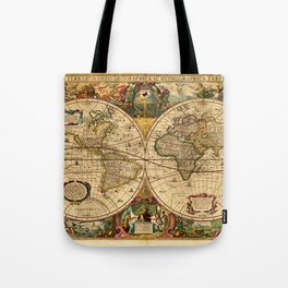 1663 Orbis Geographica Old World Map by Henri Hondius Tote Bag