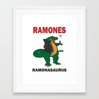 ramones Framed Art Prints featuring Ramonasaurus  by Christopher Chouinard