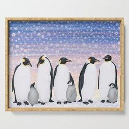 emperor penguin colony Serving Tray