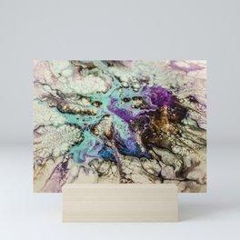 Mystical face acrylic Dutch pour Mini Art Print
