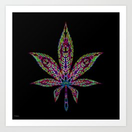 Neon Cannabis Leaf Art Print