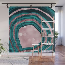 Agate Teal Rose Gold Blush #1 #abstract #shiny #decor #art #society6 Wall Mural