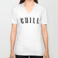 chill V-neck T-shirts featuring Chill by Jessie Rose