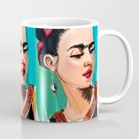 frida Mugs featuring Frida by Jaleesa McLean