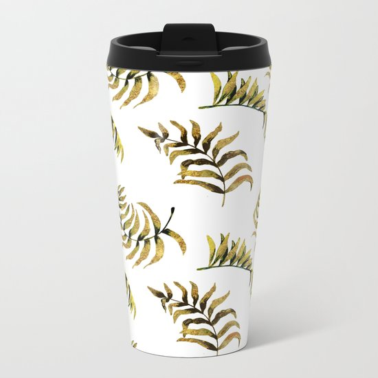 Exotic Gold Palm Leaves Pattern on #Society6 Metal Travel Mug