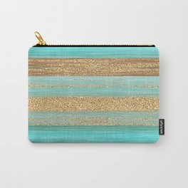Turquoise Brown Faux Gold Glitter Stripes Pattern Carry-All Pouch