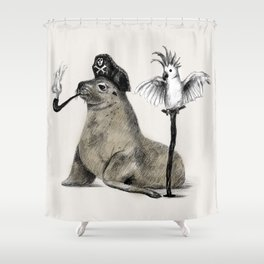 Pirate // seal parrot Shower Curtain