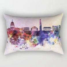 Washington DC skyline in watercolor background  Rectangular Pillow