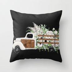 Flower Truck Throw Pillow