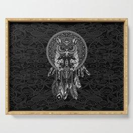 White Owl Dreamcatcher Aztec Pattern Serving Tray