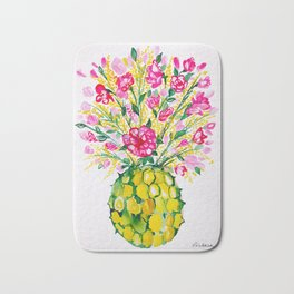 Watercolor Pineapple With Hot Pink Flowers Bath Mat
