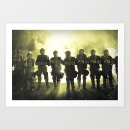 Riot Police Line - Yellow Cast Art Print