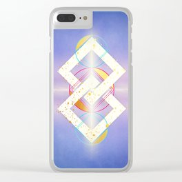 Linked Lilac Diamonds :: Floating Geometry Clear iPhone Case