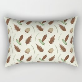 Ivory brown mint green pine cone floral Rectangular Pillow